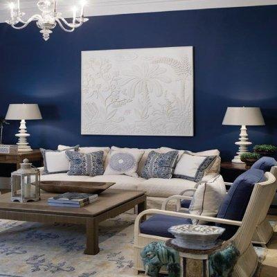 sala de color azul